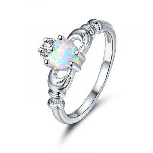 Wholesale Genuine 925 Sterling Silver Opal Claddagh Ring Genuine Opal Rings