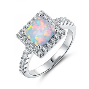 Wholesale Rhodium Plated 925 Sterling Silver Opal Engagement Ring Real Opal Rings For Bridal